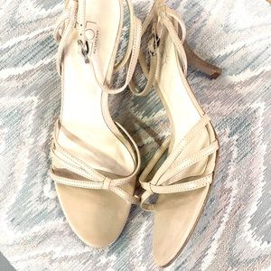 Loft nude leather kitten heels size 8.5